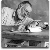 Ernest Hemingway at his desk